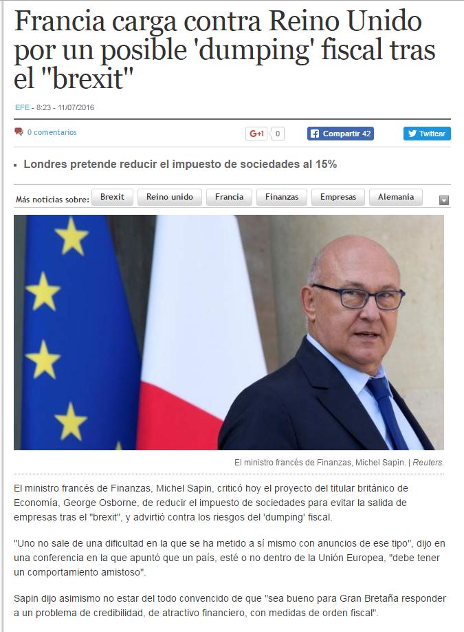 Francia carga contra Reino Unido por un posible 'dumping' tras el brexit